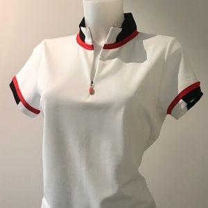 EP Pro Tour Tec Sporty white black& red golf shirt